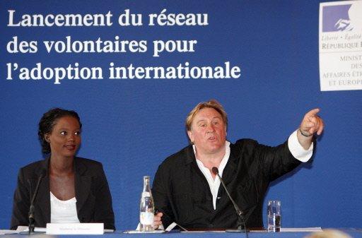 Mme Rama Yade et M. Gérard Depardieu le 28/07/08